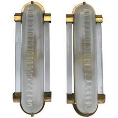 Pair of Graziella Wall Lights, Murano Glass with Brass Frame