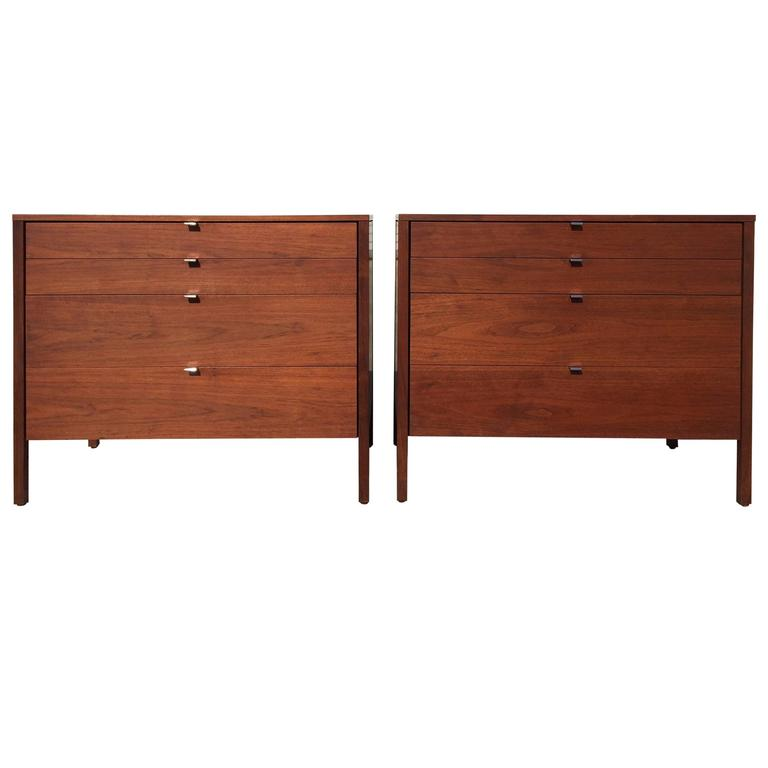 Pair of Walnut Florence Knoll Dressers Chests