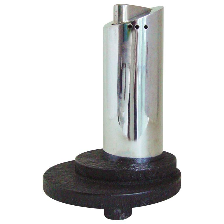 English Art Deco Chrome and Wrinkle Paint Architectural Automatic Table Lighter For Sale