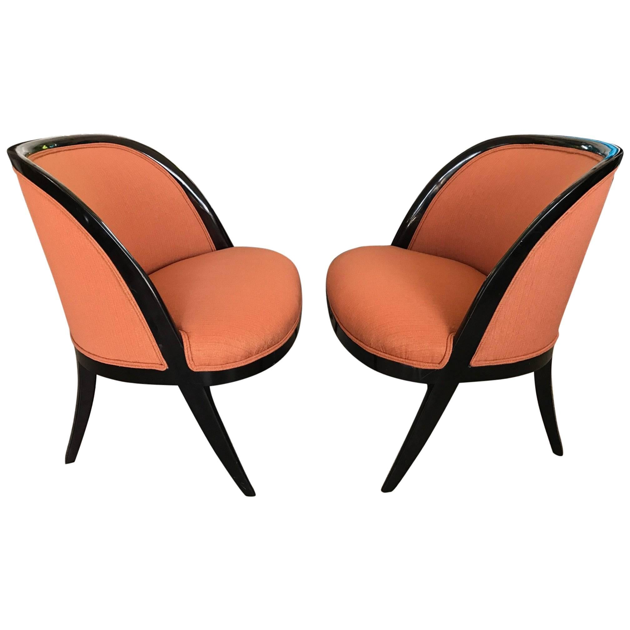 Pair of Elegant Harvey Probber Style Slipper Chairs