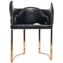 Contemporary Cuff Chair in Rose Gold, Bronze and Crocodile Leather