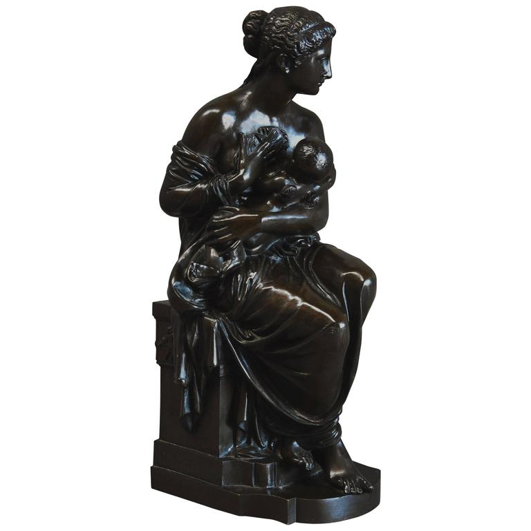 Late 19th Century Bronze Figure of Venus and Cupid in the Classical Style
