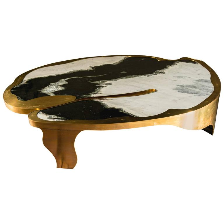 Contemporary Center Crater Table in Dalmata and Brass 1