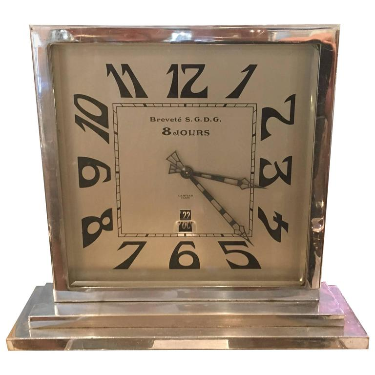 Art Deco Cartier 8 Day, Day and Date Chrome Mantle Clock