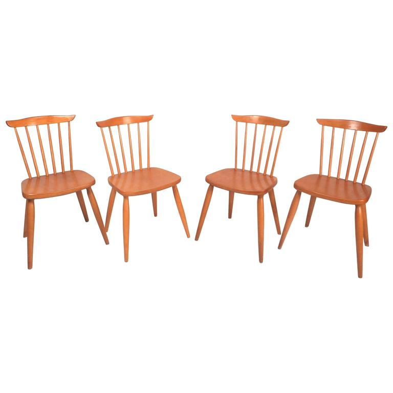 Set of Four Mid-Century Modern Dining Chairs in the Style of Paul McCobb