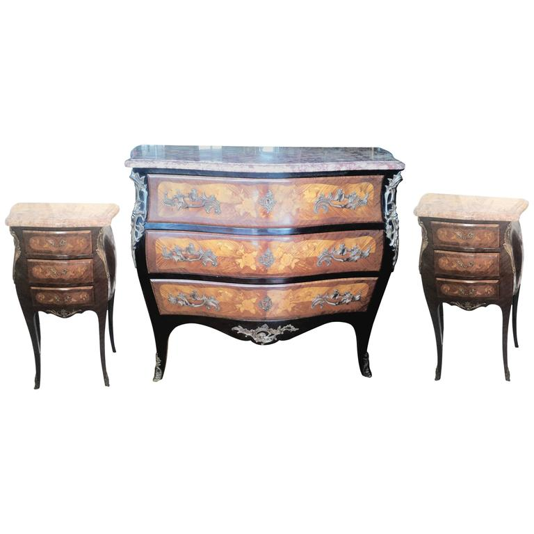 Louis XV Marquetry Commode and Pair of Bed Side Tables, French Bedroom Set 1