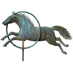 Molded Copper Horse Jumping through Hoop Weathervane