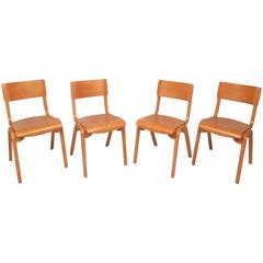 Set of Four Mid-Century Modern Maple Stacking Chairs