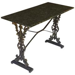 English Pub or Bistro Table of Cast Iron with Granite Top
