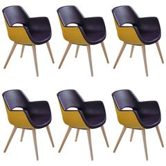 Armchairs, Bicolor Purple/Yellow, Mid-Century style, Made in Italy, No Minimum.