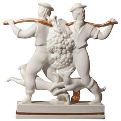 """Grape Harvest,"" Rare Art Deco Porcelain Sculpture by Gio Ponti"