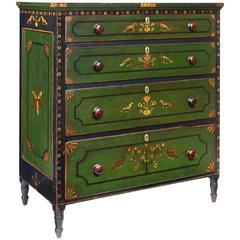 Green-Painted and Polychrome-Decorated Four-Drawer Chest