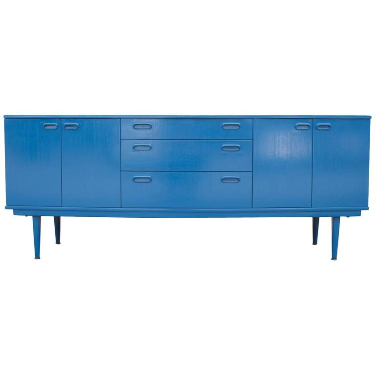 Modern Blue Lacquered Three Drawer Sideboard at 1stdibs