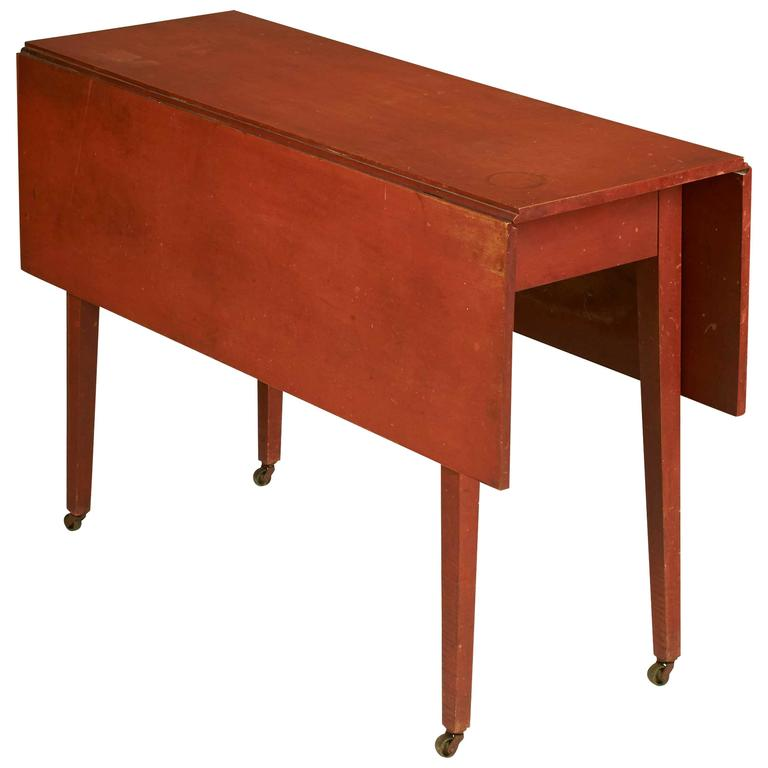 Elegant Federal Country Red Painted Maple Drop Leaf Table 1