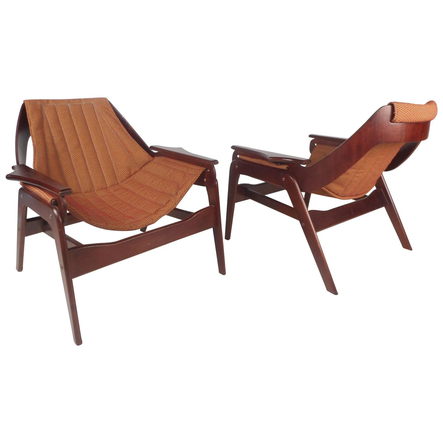 Mid Century Modern Sling Lounge Chairs by Jerry Johnson at 1stdibs