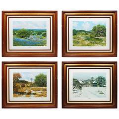 Vintage Set of Four Landscape Prints of Texas Seasons Bluebonnets, Slaughter