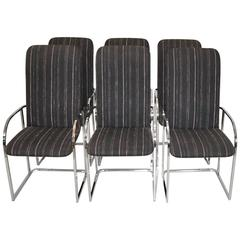 Set of Six Chrome Upholstered Dining Chairs by Design Institute of America