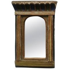 1950s Rectangular Mirror in Enameled Red-Clay Signed Les Argonautes Vallauris