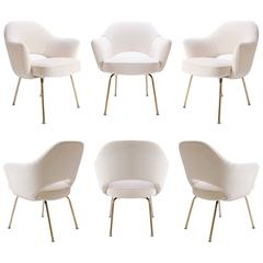 Saarinen Executive Arm Chairs in Crème Velvet, 24k Gold Edition, Set of 6