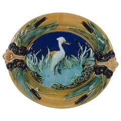 French Majolica Heron Wall Platter, circa 1890