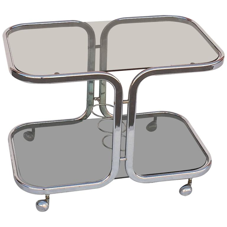 French Chrome Drinks Cart with Smoked Glass For Sale
