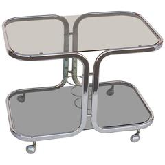 French Chrome Drinks Cart with Smoked Glass