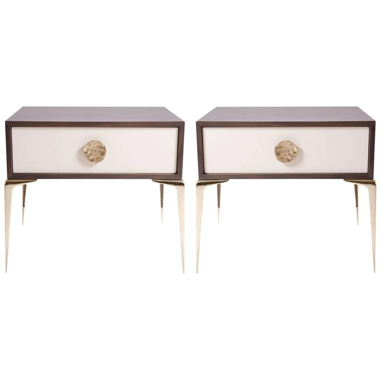 Colette Brass Nightstands in Ebony and Ivory by Montage, Pair