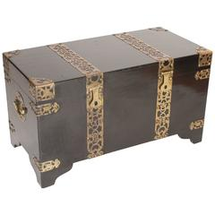Chinese Style Black Lacquer Trunk with Brass Mounts