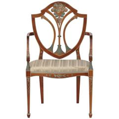 George Hepplewhite Armchair, Cherrywood and Hand-Painted Decoration