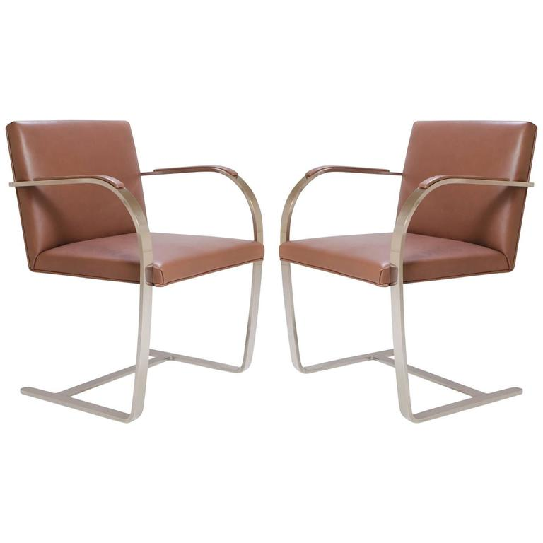 Mies van der Rohe for Knoll Brno Flat-Bar Chairs in Cognac Leather, Pair For Sale
