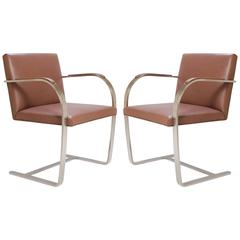 Mies van der Rohe for Knoll Brno Flat-Bar Chairs in Cognac Leather, Pair