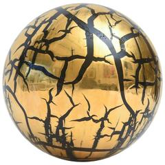 Signed Larry Lubow Gold-Plated Ceramic Ball Sphere Sculpture