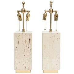 Pair of Vintage Travertine and Brass Lamps