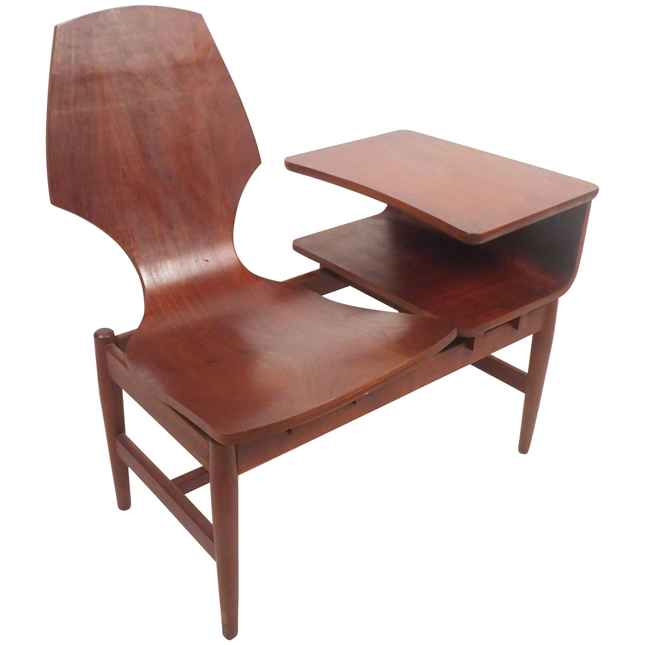 Mid-Century Modern Scandinavian Rosewood Telephone Table and Side Chair