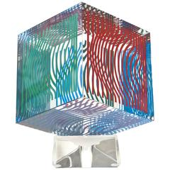 Vintage Victor Vasarely Cube Optical Op Art Silkscreen Acrylic Sculpture