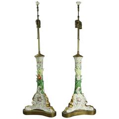Pair of Antique Meissen School Hand Painted Foliate Porcelain Table Lamps