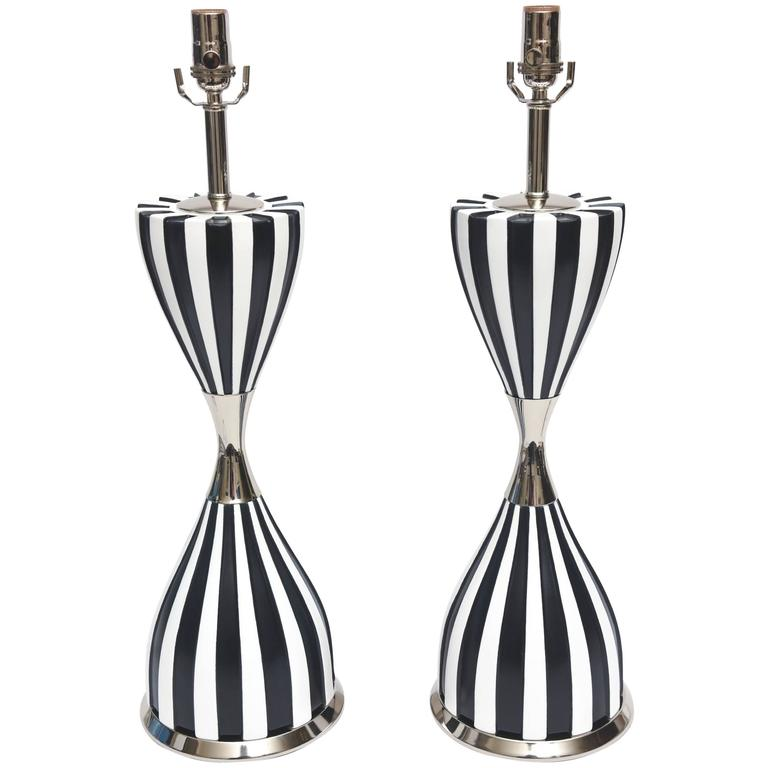 Pair of Mid-Century Modern Sculptural Ceramic and Nickel Silver Laurel Lamps