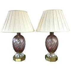 Pair of Barovier e Toso Murano Glass and Brass Table Lamps