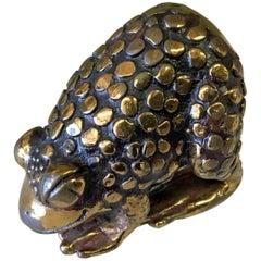 Rare Miniature Sculpture by Joseph Addotta Gold¬-Plated Bronze Frog Signed