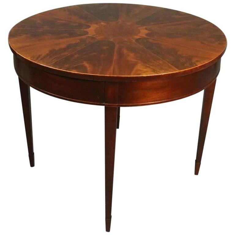 Vintage baker round sunburst flame mahogany banded and for Round centre table designs
