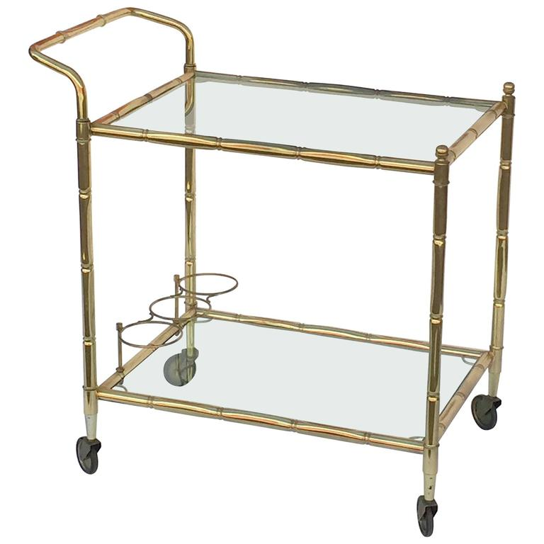 French Drinks Cart of Brass with Tinted Glass 1