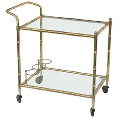 French Drinks Cart of Brass with Tinted Glass