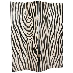Eggshell and Lacquer Zebra Pattern Four-Panel Folding Screen