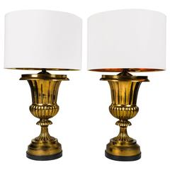 Vintage Pair of Solid Brass Task or Table Lamps