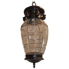 Handsome French Patine Bronze Beveled Panel Glass Lantern Pendent Fixture