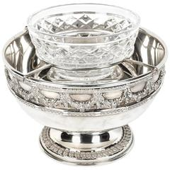 Antique English Silver Plate with Cut Crystal Bowl Caviar Dish