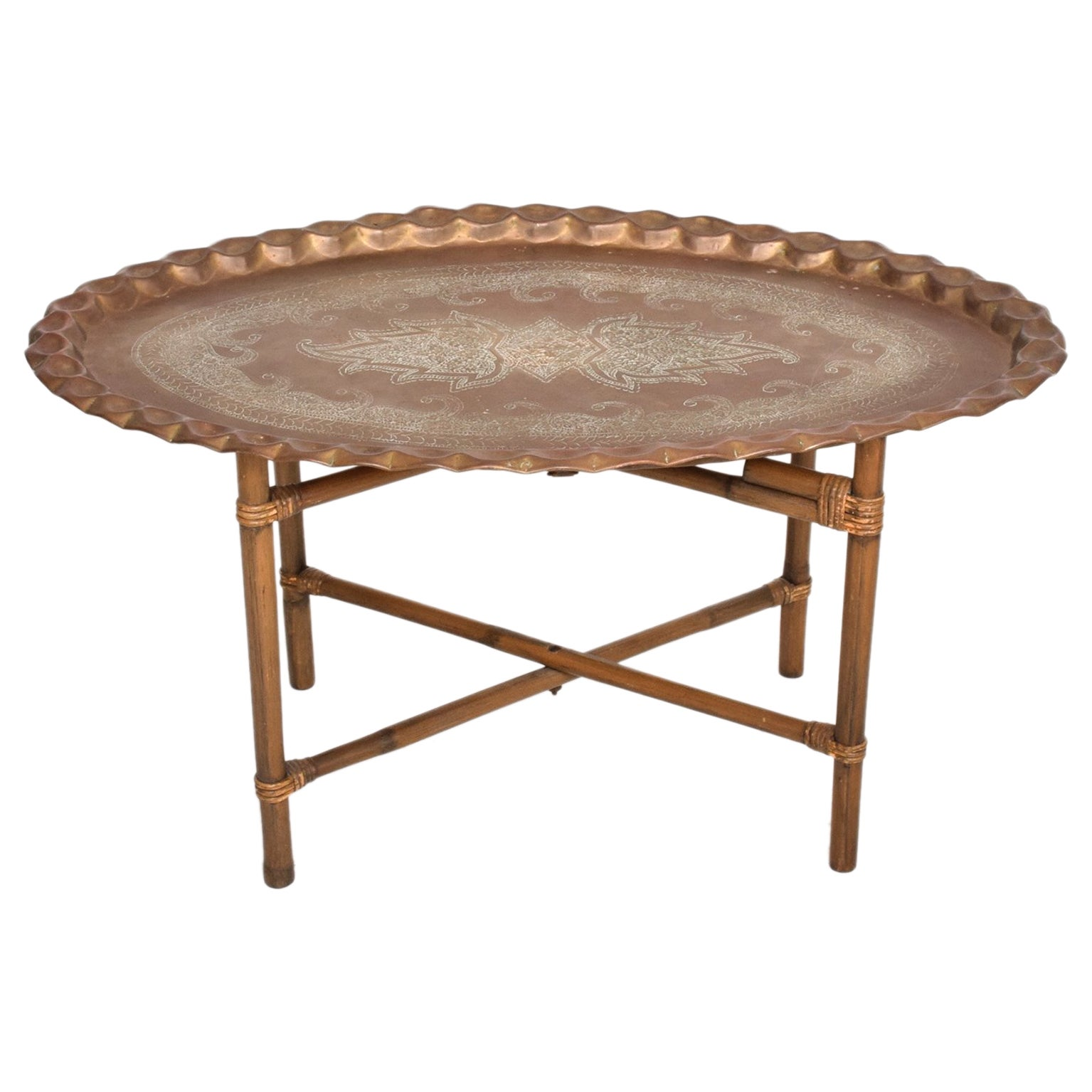Anglo Indian Brass and Bamboo Coffee Table, Hollywood Regency