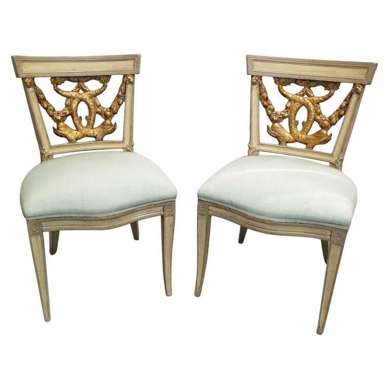 Pair of Italian Neoclassical Painted and Partial Gilt Side Chairs 1