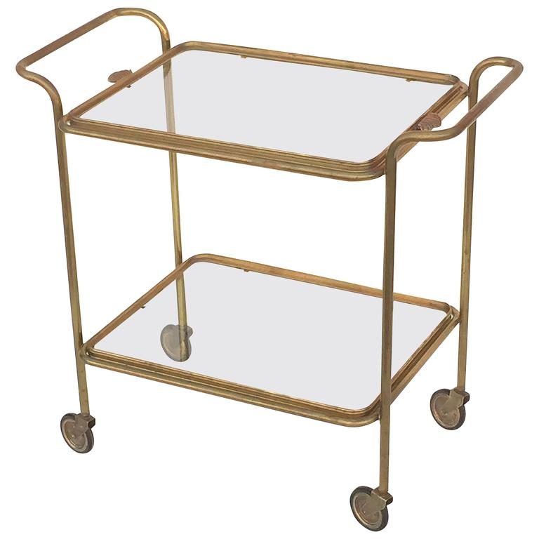 French Drinks Cart of Brass with Removable Top Serving Tray