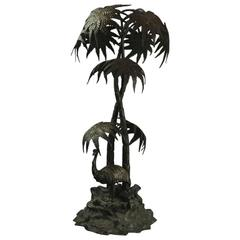 Oversized Antique Tiffany Studios Bronze Figural Group Emu in Palms, circa 1900